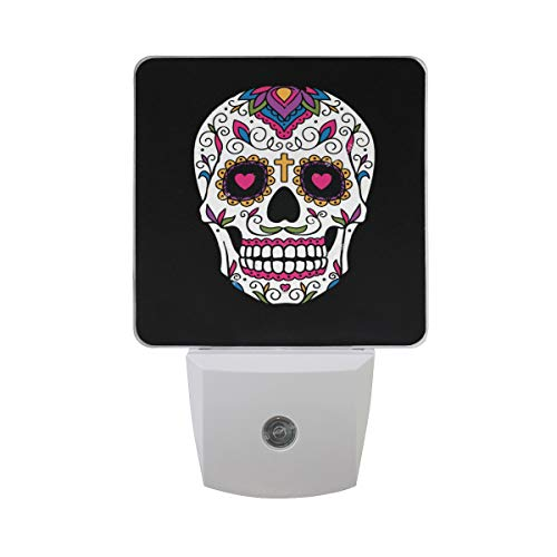 Night Light Mexican Sugar Skull Black Led Light Lamp for Hallway, Kitchen, Bathroom, Bedroom, Stairs, Daylight White, Bedroom, Compact