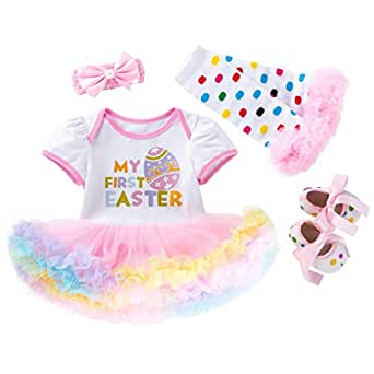Fairy Baby 4Pcs Newborn Baby Girls Skirt Set Easter Eggs Outfits Clothes Set Tutu Bodysuit Size 0-3M (Pink)