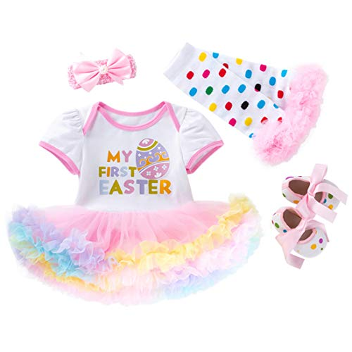 Fairy Baby 4Pcs Newborn Baby Girl Easter Outfit Dress Skirt Set Easter Eggs Costume Gift Letter Print Tutu Bodysuit,3-6M, -
