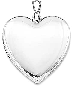 IceCarats 925 Sterling Silver Rhodium Plated 24mm Plain Heart Locket Necklace That Holds Pictures