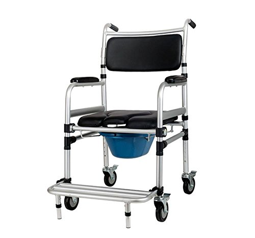 Healthcare Wheeled Commode - Over Toilet Chair With Padded Seat And Back - Height Adjustable & Four Wheels With Brake YC7800J