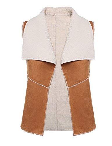(Pinsparkle Women's Turn Down Collar Faux Shearling Vest Suede Sherpa)