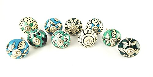 Karmakara Ornate Blue Floral Ceramic Knobs For Cabinets & Cupboards - Hand Painted Pulls