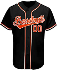 Custom Men Baseball Button Down Jersey Short Sleeve Shirts Design Stitched Letters and Number
