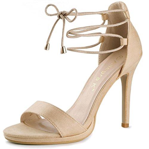Open Allegra HF88026 Lace K Up Women Stiletto Heel Sandals Beige US 8 High 916 Toe 5 IpHIT