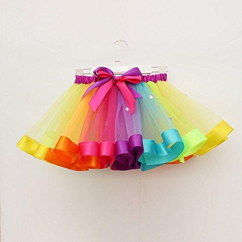 Toddler Kids Cute Tutu Dress,Girls Petticoat Rainbow Pettiskirt Bowknot Skirt Dancewear (Multicolor-3, L)
