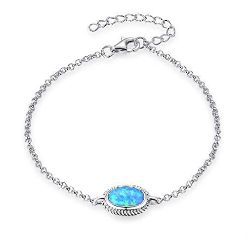 Bracelets Opal Oval (Fancime Sterling Silver Oval Created Opal Link Bracelets Cable Chain Charm Bracelets For Women Girls 6