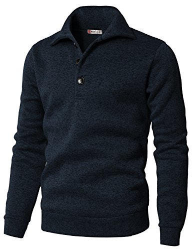 H2H Men's Slim Fit Turtleneck Basic Knit Sweater with Buttons Navy US S/Asia M - Fleece Mens Zip Quarter