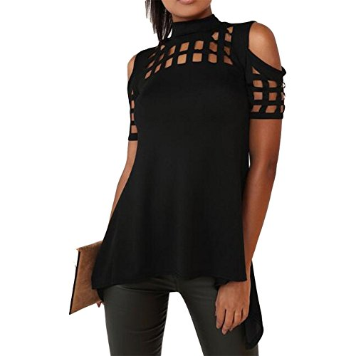 Antopmen Women Sexy Half Turtleneck Short Sleeve Cold Shoulder Hollow Out Back Split Tops (Large, Black)