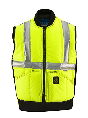 (RefrigiWear Men's Insulated Iron-Tuff Hivis Safety Vest - ANSI Class 2 High Visibility Lime with Reflective Tape (X-Large))