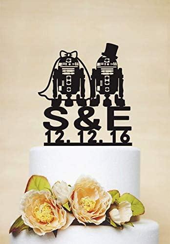 Decoración para tarta de boda, diseño de robot de StarWar: Amazon.es: Hogar