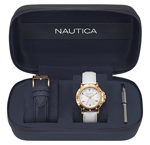 Nautica Men's 'PORTHOLE' Quartz Stainless Steel and Leather Sport Watch, Color:Silver-Toned (Model: NAPPRH009)