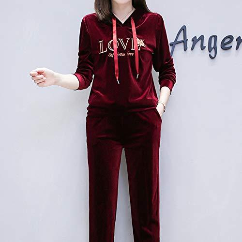 Grandi Ricamato Maglione Due Gmyanlyq Velluto Oro Donna Di Autunno Pezzi Sottile Da In Dimensioni Vestito Rosso HnwqTtnfU