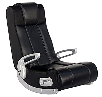 """X Rocker II Wireless SE 2.1 Video Gaming Rocking Foldable Floor Chair with 2 Speakers and 4"""" Subwoofer with Port - Highback, Headrest, Pivoting Armrests - Black/Silver, 5127301"""
