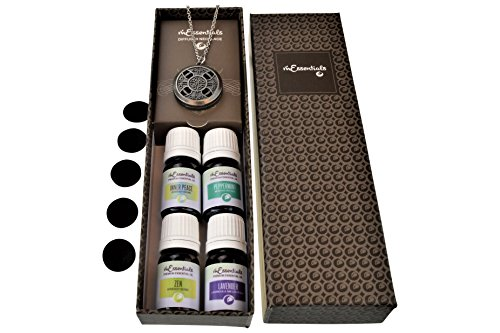 mEssentials Celtic Cross Pewter Aromatherapy Essential Oil & Diffuser Necklace Gift Set