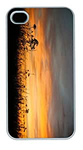covers pretty sunset grass PC White Case for iphone 4/4S
