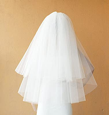 2 Tier Layer Ivory and White Bridal Wedding Veils Fingertip length with Comb-V08