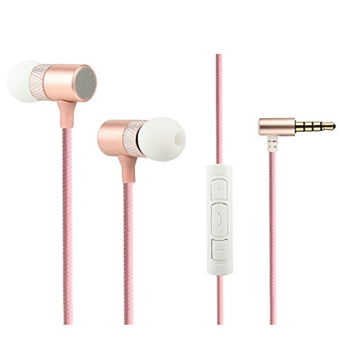 - Shengpute In-Ear Earphones Earbuds With Mic Wired Headphones Noise isolation For Iphone and Android (pink)