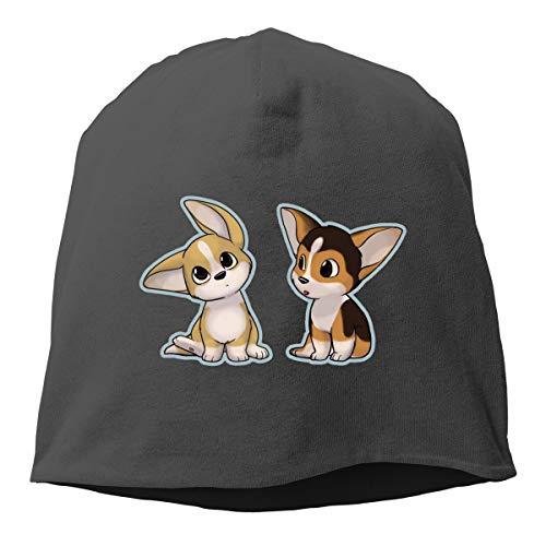 Cute Cartoon Corgis Unisex Hedging Cap Beanies Cap Sleep Cap Knitted Hat Black