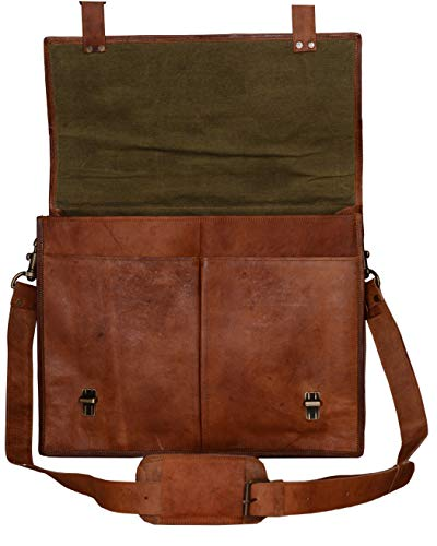 PL Leather Messenger Bag 16 Inch Brown Leather Briefcase