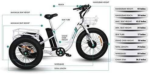 Emojo Caddy Electric Tricycle 24 Inch Fat Tire Electric Trike 3 Wheel Ebikes 48V 500W Electric Bike Electric Tricycle Lithium Battery Rear Basket Cargo