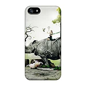 Iphone 5/5s Cover Case - Eco-friendly Packaging(rhino Girl Nature Birds Situation Forest)