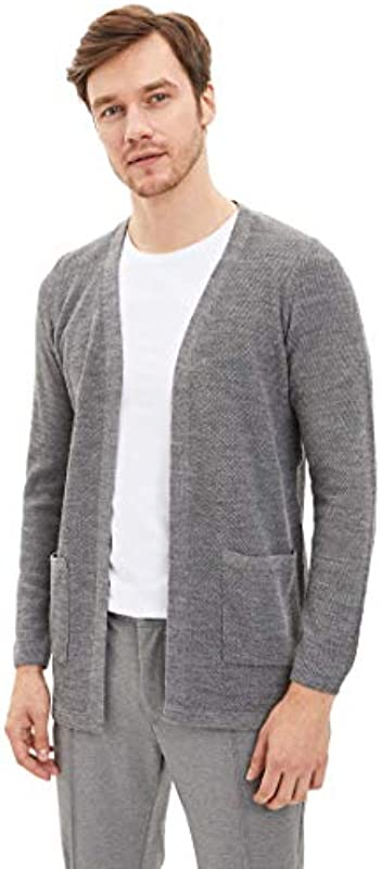 DeFacto Men's Slim Fit koszulka z dzianiny kardigan: Odzież