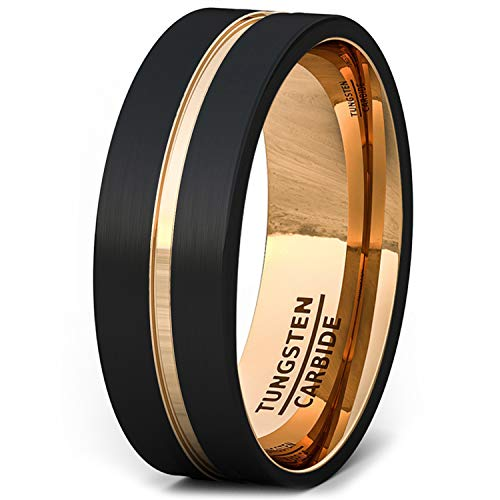 Duke Collections Mens Wedding Band Brushed Black Tungsten Ring 8mm Rose Gold Groove Flat Edge Comfort Fit(12)