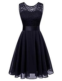 BeryLove Women's Short Floral Lace Bridesmaid A-line Part Dress