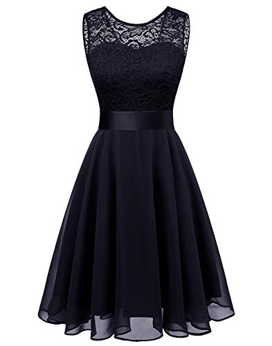 BeryLove Women's Short Floral Lace Bridesmaid Dress A-line Swing Party DressBLP7005NavyS