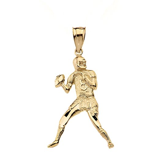 Fine 10k Yellow Gold Football Player Futbol Sports Pendant