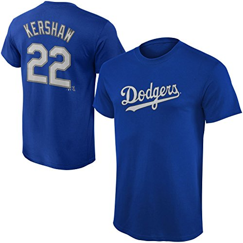 Outerstuff MLB Youth Performance Team Color Player Name and Number Jersey T-Shirt (Large 14/16, Clayton Kershaw)