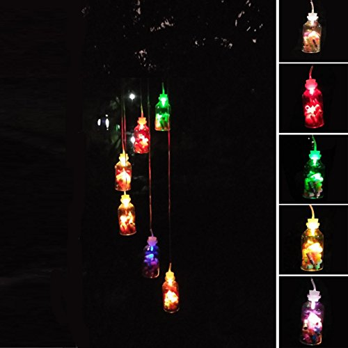 Daint Light Up Wine Chimes, Solar Color Changing Waterproof Six Hummingbird Wind Chime, Outdoor LED Decoration for The Night in Your Party Garden (Bestwish)