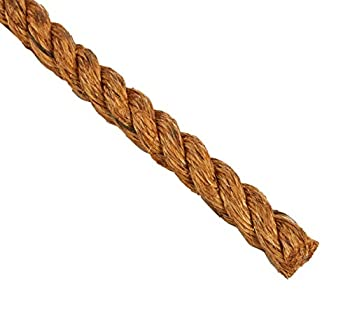 """Indusco 72100191 Manila Rope Poly Wrapped Coil, 3 Strands, 1"""" Diameter x 200' Length, 1620 lbs Working Load Limit"""