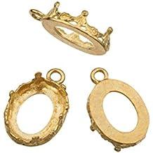 10 Pack - Oval Bezel Cup Settings Brass 10x14 Mm Findings Mount Pendant Earring 349