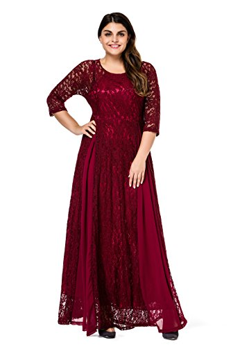ESPRLIA Women's Plus Size Floral Lace 3/4 Sleeve Wedding Maxi Dress (2X, Wine)