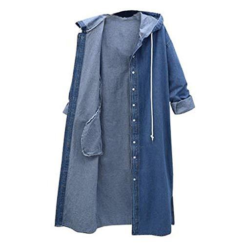 Hooded Coat Windbreaker Size Plus Sobrisah Women's dark Jean Outwear Denim Blue 1133 Sleeve Jacket Long Long gfwWS5ABqp