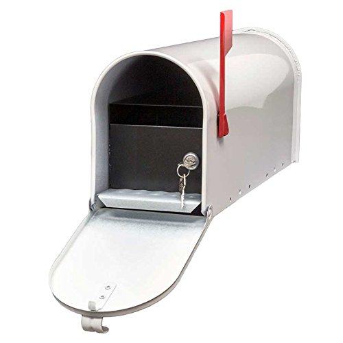 (Qualarc E1-MLBX-LKIT-WHT Rust Proof Galvanized Mailbox with Locking Insert, Steel Latch and Red Aluminum Flag, White)