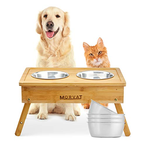Morvat Raised Dog Bowl Feeding Station for Large Dogs -Double Dog Dishes Elevated for Large Dogs & Cat Pet Feeder, Adjustable Bamboo Dog Dishes for Large Dogs – 3 Heights & 4 Stainless Steel Dog Bowls