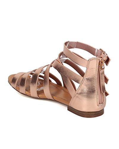 Sandalo Gladiatore Similpelle Donna - Casual, Estivo, Elegante - Sandalo Flat Strappy - Gg38 Oro Rosa