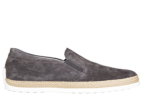 tods-mens-suede-slip-on-sneakers-pantofola-rubber-rafia-grey-us-size-6-xxm0tv0k900re0b408