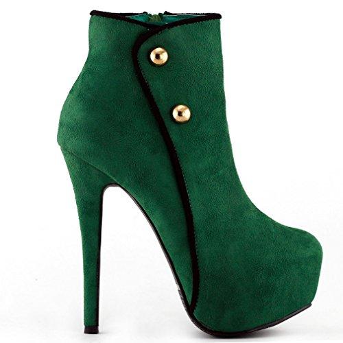Mostrar historia elegante botón verde/negro del talón de estilete botas de tobillo plataforma, LF80829 Verde