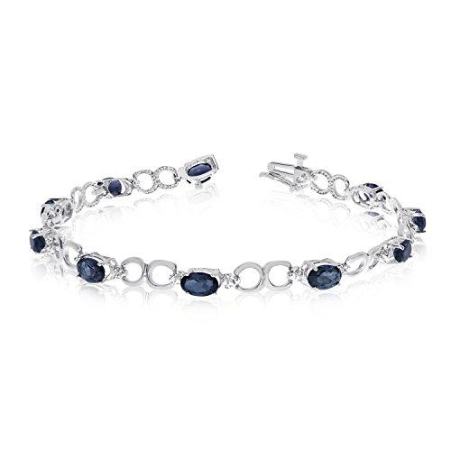 Diamond Open Link Tennis Bracelet (3.90 Carat (ctw) 14k White Gold Oval Blue Sapphire and Diamond Open Link Tennis Bracelet - 7