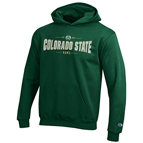 (Champion NCAA Youth Long Sleeve Fleece Hoodie Boy's Collegiate Sweatshirt Colorado State Rams)