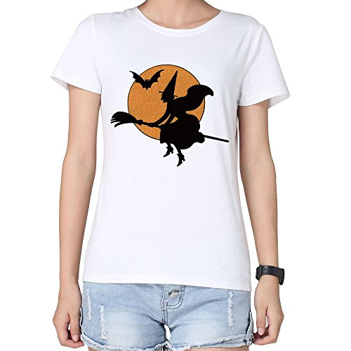 DF Woman's All Saints' Day Halloween Moon Witch T-shirts White S