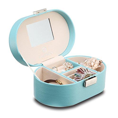 Vlando Small Faux Leather Mirrored Travel Jewelry Box Organi