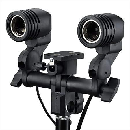 BBVP Double Light Socket with Light Stand Swivel Mount & Umbrella Holder for Photography, Film, & Video Studio