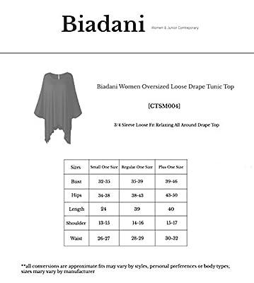 BIADANI Women Relaxed Loose Drape Tunic Top (S-3XL)