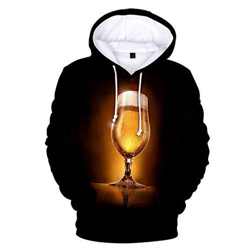 NIUQI Men's Beer Festival 3D Printing Long Sleeve Hoodies Sweatershirt Tops Brown