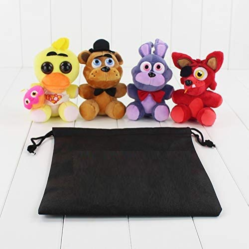 PAPCOOL Set 4 FNAF Plush Toy 5 inch Hot Toys Foxy Bonnie Freddy Bear Mini Cute Stuffed Keychain Sister Location Dolls Christmas Halloween Collectable Gift Gifts Stuff Collectible Collectibles for Kids]()